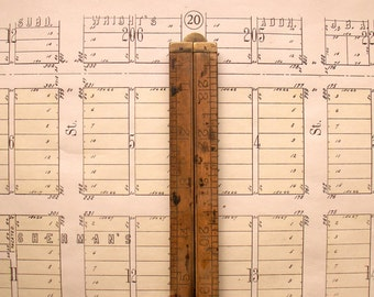 Vintage Stanley No. 68 Boxwood and Brass Folding Ruler - Great Guy Gift