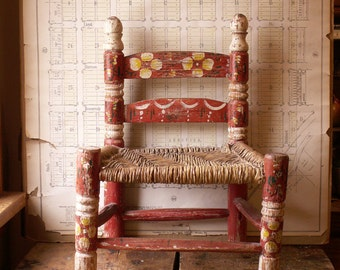 Vintage Hand Painted Child's Chair with Woven Wicker Seat - Scandinavian Decor