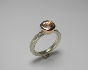 Juno ring - sterling silver and 9ct rose gold with morganite