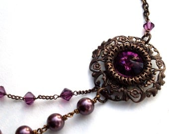 Plum layered asymetrical necklace, dark antiqued brass filigree, crystal pearls, Austrian crystal beaded chain, purple brown, Boho jewelry