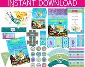 Mermaid Party DIY Printable Kit - INSTANT DOWNLOAD
