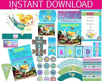 Mermaid Birthday Party DIY Printable Kit - INSTANT DOWNLOAD