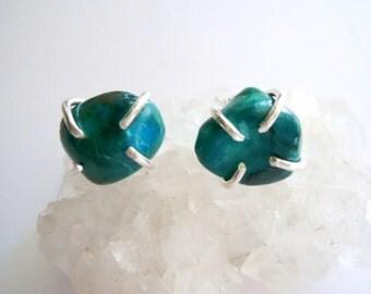 Chrysocolla Raw Gemstone Earrings - Semi Precious - Rustic