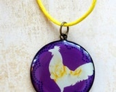 Chicken Silhouette Necklace on Purple Background with Antique Bronze Finish Backing and Sun Charm on Yellow Cord Necklace - Farm Animal