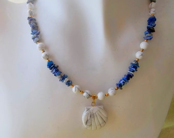 White Howlite Shell with White Howlite and Blue Sodalite Necklace