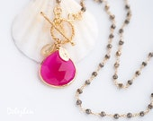 Fuchsia Pink Necklace - Hot Pink Personalized Necklace - Pyrite Wire Wrapped Necklace - Gold Toggle Clasp