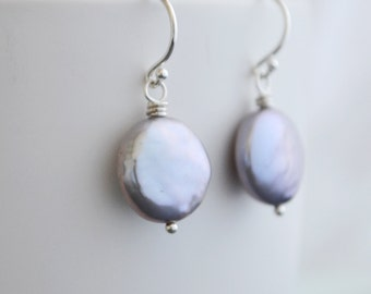 Light Grey Coin Freshwater Pearl Earrings, Argentium Silver French Hoops, June Birthstone, Gift Under 25