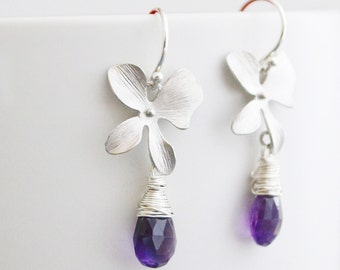 Bridesmaid Gift, Discounted Set of 3 Purple Amethyst Silver Orchid Earrings, Sterling Silver Hoops, Wedding Jewelry