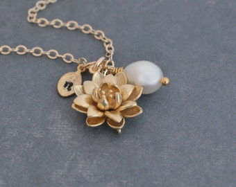 Personalized Gold Lotus Flower Necklace, Whtie Freshwater Pearl, 14K Gold Filled Chain, Water Lily Flower Pendant, Beauty Life