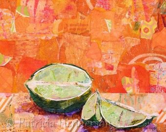 "LIME TIME Original Paper Collage Painting 6 X 6"" on Gallery Wrapped Canvas"
