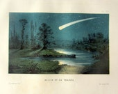 1870 antique Meteor chromolithograph, vintage original meteor trail engraving, astronomy color print.