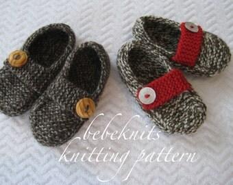 Bebeknits Loafer Style Normandy Toddler Slipper Knitting Pattern in 3 Sizes