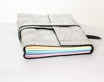 """4x6"""" Leather journal, rainbow pages, travel journal, travel notebook, diary sketchbook, leather notebook, blank book, hand bound silver"""