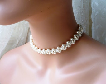 Pearl Choker Necklace, Bridal Jewelry, Ivory Cream or White Swarovski Pearl Jewelry, Wedding Jewelry Necklace, Beaded Woven Jewelry, Collar