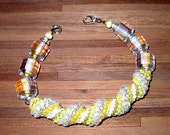 Yellow Cellini Spiral Beadwoven Bracelet, Hand Made in the USA