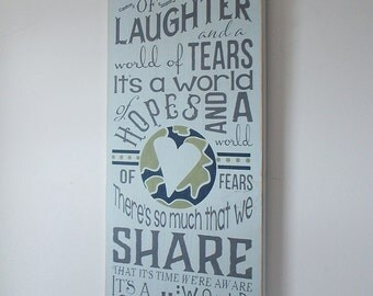 It's A Small World Large Distressed Finish Wood Sign
