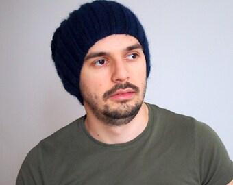 Slouchy Blue man hat men hat knit  wool