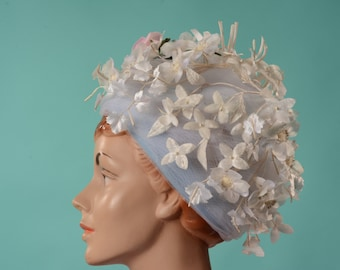 Vintage 1960s Floral Wedding Hat - Mr. John Jr. - Spring Bridal Fashions