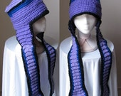 Neapolitan Pilot - purple and black crochet hat with long ear flaps, unisex