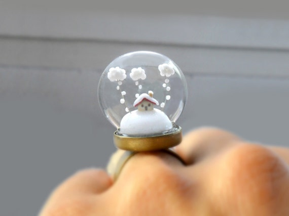 Winter Terrarium Ring Snow-covered landscape-Little house and white clouds-