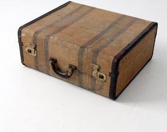 1930s striped luggage, vintage suitcase, stripe luggage, vintage storage
