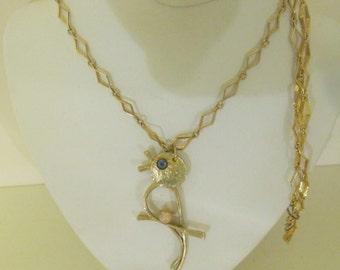 Bird Lovers Goldtone Necklace Diamond Shape Chain Sweet Vintage