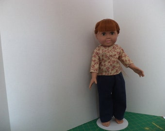 Red Roses on Beige Blouse, 18 inch dolls, Ready to Ship