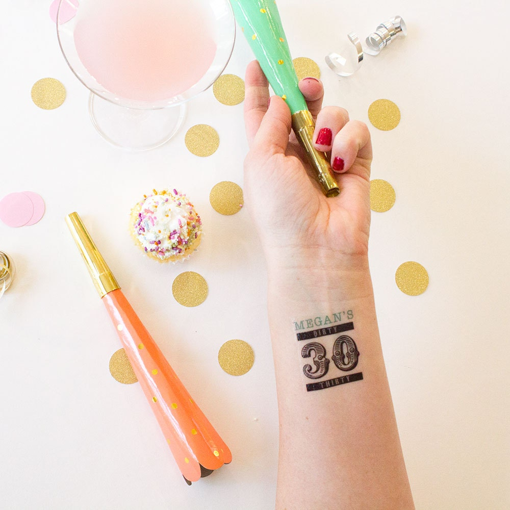 Dirty 30 tattoos personalized temporary by kristenmcgillivray for Vulgar temporary tattoos