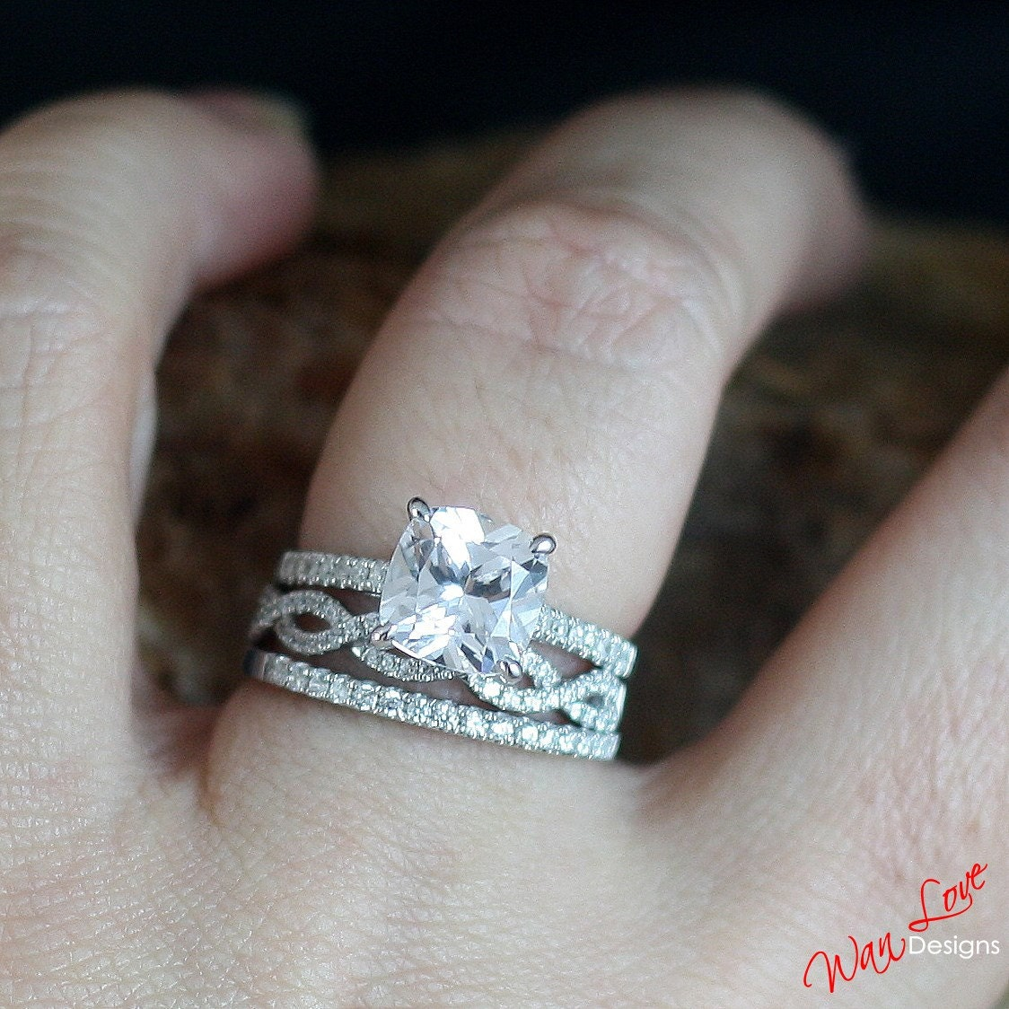 white sapphire diamond engagement ring set cushion sapphire. Black Bedroom Furniture Sets. Home Design Ideas
