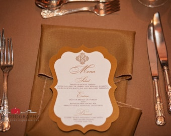Gold Wedding Menu 50qty, Ornate Die Cut Reception Menu, Personalized Wedding Table Setting Custom Designed