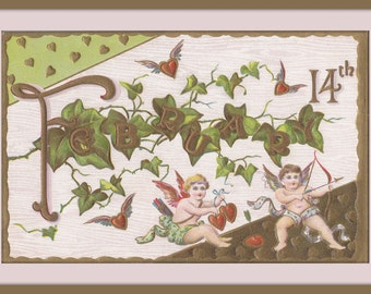 February 14th- 1910s Antique Postcard- Valentine's Day- Cupid's Bow and Arrows- Edwardian Valentine Decor- Calendar Art- Paper Ephemera