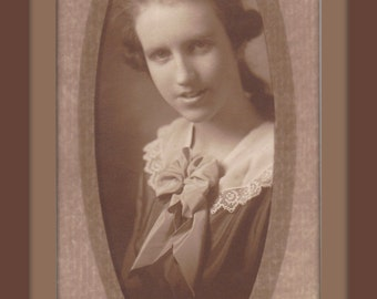 Tender Heart- 1920s Antique Photograph- Beautiful Young Woman- Barber Studio, Denver- Soft Focus Sepia Portrait- 20s Photo- Paper Ephemera