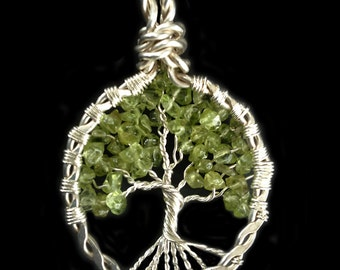 Peridot and Sterling Silver Tree of Life Pendant Necklace