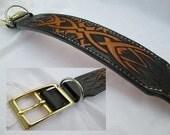 Black yellow collar , custom leather dog collar , celtic style collar , bumblebee color collar