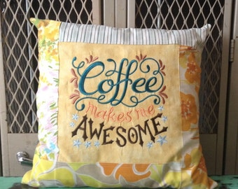 Sampler Chalkboard Style Pillow Coffee Makes Me Awesome