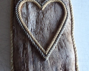 Drift wood with Rope Heart Shape Valentines Day Natural Rope Wall Art RE-purposed Eco-Friendly