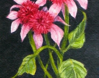 Pink Flower Blossoms Watercolor Painting Tiny Original Art