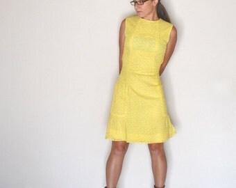 Lace Shift Dress 60s Vintage Elinor Gay Yellow Mini Dress with Matching Jacket XS Small