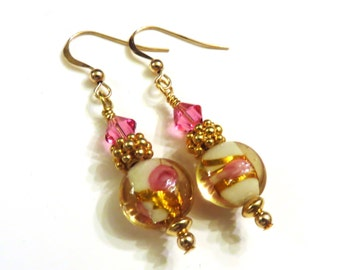 Wedding Cake Lampwork Earrings With Pink Swarovski Crystals, Pink Earrings, Pink Crystal Earrings