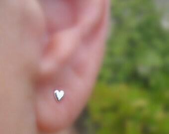 Stud Earrings - Sterling Silver Valentine Heart Earrings 20 Gauge - ONE PAIR - Cartilage Earrings - Cartilage Piercing