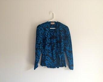1980s geometric leaf print AVANT GARDE / FASHIONISTA new age hipster ruffle peplum blouse