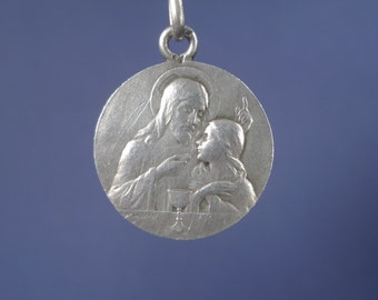 "FIRST COMMUNION Vintage Silver Religious Medal Pendant by Lasserre on 18"" sterling silver rolo chain"