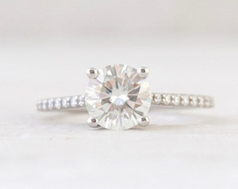 7.5mm Round Forever One Moissanite and Diamond Accented  Engagement Ring Engagement Ring LCDA005