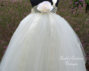 Ivory Tulle Tutu Flower Girl Dress for Weddings, Pageants, Bridal Party, Special Occasion up to 6/7 yr