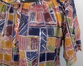 Elles Belles Vintage Tribal Print Bohemian Sheer Tunic Blouse Top