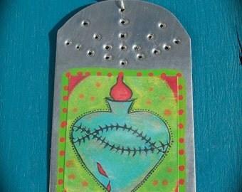 Sacred Heart  - Retablo - Tin Ex Voto / MilagrO  - Christmas Ornament  - Cathy DeLeRee