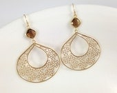Large Filigree Earrings - Huge Gold Teardrop Earrings Brown Czech Glass Square Lightweight