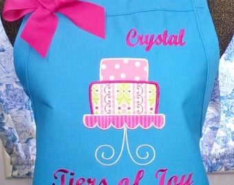 Cake Apron Turquoise Personalized Fabric Applique
