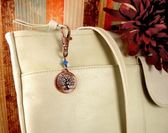 Tree of Life charm handbag purse clip, key chain, backpack or belt loop ornament in antique copper with blue bead