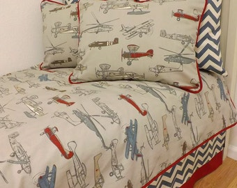 Twin Size Airplane Bedding- Vintage Air Twin/ Full/ Queen Size Bedding- MADE to ORDER- You choose size